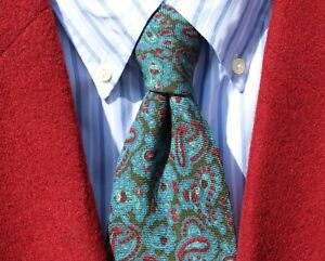 Robinson's Vintage Green, Teal, Red, & White Paisley Wool Challis Tie - England