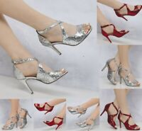 New Ladies Glitter Shimmer High Heel Party Prom Evening Sandals 345678