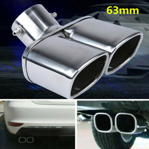 "63mm/2.5""Stainless Steel Universal Car Dual Exhaust Tip Square Tail Pipe Muffler"