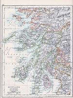 1912 MAP ~ SCOTLAND SOUTH WEST ~ INVERNESS HEBRUDES