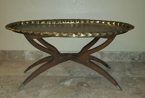 Vintage Brass Coffee Table on Spider Leg stand