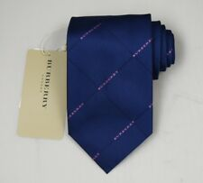 "NEW Burberry DARK BLUE Check Mans 100% Silk Tie Authentic Italy Made 3.5"" 035075"
