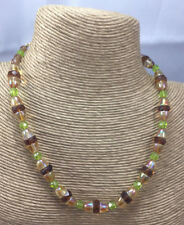 Vintage Style Necklace Glass Iridescent Cone Amber Disc Faceted Green Choker
