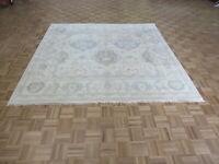 7'10 x 8 Square Hand Knotted Ivory Oushak Oriental Rug Ushak G8731
