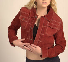 Denim Suede Jacket STEVE MADDEN Jacket 100% Genuine Leather CROP Coat Sz M