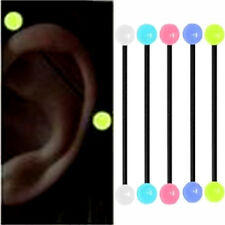 5pc GLOW IN THE DARK Acrylic Industrial Bar Scaffold Ear Barbell Ring PIERCING