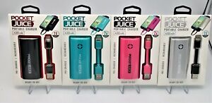 2 Pack Tzumi Pocket Juice 4000 mAh 5V Safe Fast Mini Portable USB Charger QC