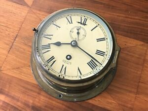 Vintage Smith's Astral Marine Brass Ship's Clock, Coventry, England - Working