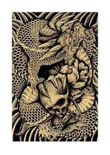 Dragon & Skull by Clark North Tattoo Art Print Japanese Asian Traditional Style