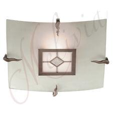 Plafonnier Suspension Tiffany Marron Blanc Laiton Lampe Suspendue Carré Verre