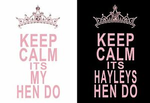 Personalised KEEP CALM HEN DO  iron on t-shirt transfers a5 a4