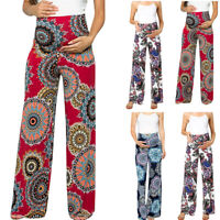 Fashion Women Maternity Pant Floral Easy Pants Pregnancy Loose Casual Trousers L