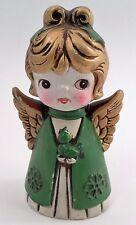 1960s Plaster Paper Mache Big Eye Golden Christmas Angel Choir Girl & Canary