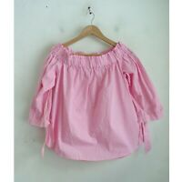 H&M Divided Pink Gingham Check Off the Shoulder Top 3/4 Sleeve Cotton Blouse 14