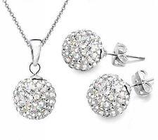 10MM Crystal Ball Shamballa Jewelry Women Shambala Stud Earrings/Necklace Set
