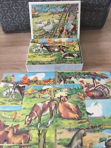 Vintage Jigsaw Puzzle Wooden 12 Block Cube 6 Pictures Children Animals Farmyard