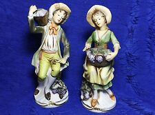 Porcelain Couple Figurines Collecting Grapes Homco