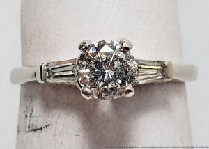 0.54ct RBC Center Diamond Solid 14k White Gold Baguette Accents Engagement Ring