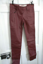 NEXT GOTHIC LEATHER LOOK OXBLOOD RED BURGUNDY TROUSERS JEANS 8 10