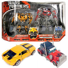 DELUXE SET 8' LARGE TRANSFORMERS OPTIMUS PRIME + BUMBLEBEE ACTION FIGURES TOY