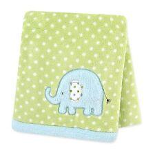 Carter's Plush Fluffy Fleece Blanket, Elephant/Turquoise