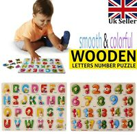 Children Kids ABC 123 Wooden Letter Puzzle Pre-School Learning Educational Toys