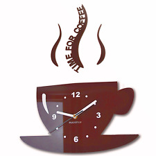 Modern Large Brown Wall Clock Home Decoration Kitchen Dining Room ( CUP )
