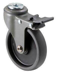 FALLSHAW 100mm Black Grey Swivel Bolt Hole Castor Wheel with Brakes 50Kg RRP$32
