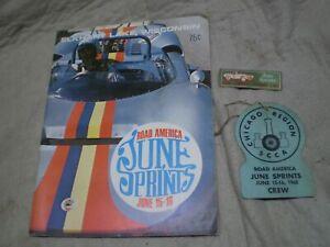 Vintage 1968 SCCA Road America June Sprints Program Crew Pass and Dash Plaque