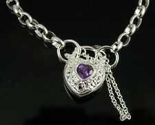 Brand New Solid Sterling Silver Oval Belcher Bracelet With Amethyst Padlock