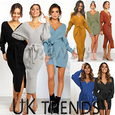UK Women Knit Jumper Sweater Ladies Autumn Winter Party Knitwear Mini Midi Dress