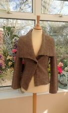 Gorgeous M&S Brown/taupe knitted Alpaca blend jacket cardigan size 10