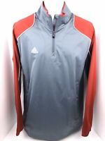 Adidas Mens L Grey And Red Quarter Zip Long Sleeve Activewear Pullover Jacket