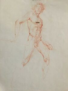 MAX TURNER Male Nude Drawing Unsigned- Pencil on paper Authenticated