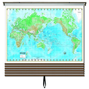 Advanced Physical Wall Map Set on Roller w/ Backboard; 6-Map Custom