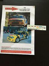 DECALS 1/43 SEAT CORDOBA WRC ROVANPERA RALLYE ITALIE SAN-REMO 1998 RALLY