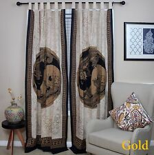 Handmade Celtic Yin Yang 100% Cotton Tab Top Curtain Drape Panel Gold 44x88 inch