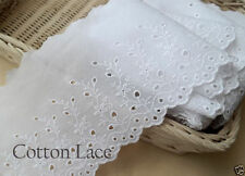 14yards Broderie Anglaise Embroidery cotton lace trim 13cm white YH1037 laceking