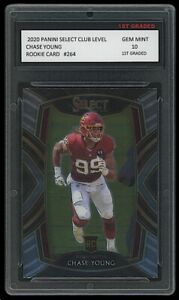 CHASE YOUNG 2020 PANINI SELECT CLUB LEVEL 1ST GRADED 10 ROOKIE CARD WASHINGTON