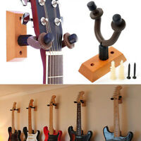 Universal Guitar Wall Mounted Hanger Wood Holder Stand w/ Screws For All Guitars