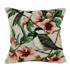 NEW BIRDS FLOWERS SPRING TAPESTRY BOTH SIDES CUSHION COVER THROW PILLOW CASE 17""