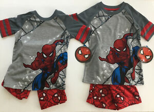 Lot Of 2 Spider-Man Boys 2 Pc Size 4/5 Pajama Set Top Pants NWT Red Gray New