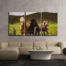 "Wall26 - Landscape with 3 Horses and Mountains - CVS - 24""x36""x3 Panels"