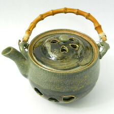 Vtg Japan Green Teapot Somayaki Crackle Glaze Bamboo Handle Heart Side Cutouts