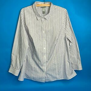 Catherines size 14/16W Wrinkle Free  Button front white with blue stripes shirt
