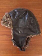 9045217e0ade6 Faux Brown Leather   Fur Hat Cap Ear Flaps Route 66 L XL Amelia Earhart