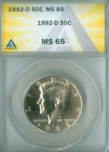 1992-D KENNEDY HALF DOLLAR ANACS MS65 FREE S/H (2026215)