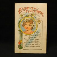 POSTCARD EASTER GREETINGS YOUNG GIRL WITH WHITE LILIES  POSTMARKED