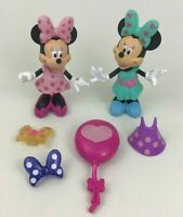 Minnie Mouse Bowtique Snap N Pose Doll Figure 12pc Lot Bow Dress Fisher Price