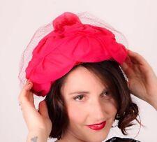 VINTAGE Rosa Shocking Ruffle FORTINO Stile Cappello Con Tulle Velo rete 50 S 60 S VINTAGE